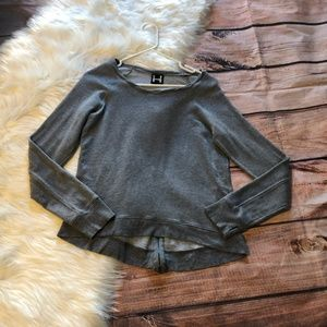 Bordeaux Gray Jersey Material Zipper Top
